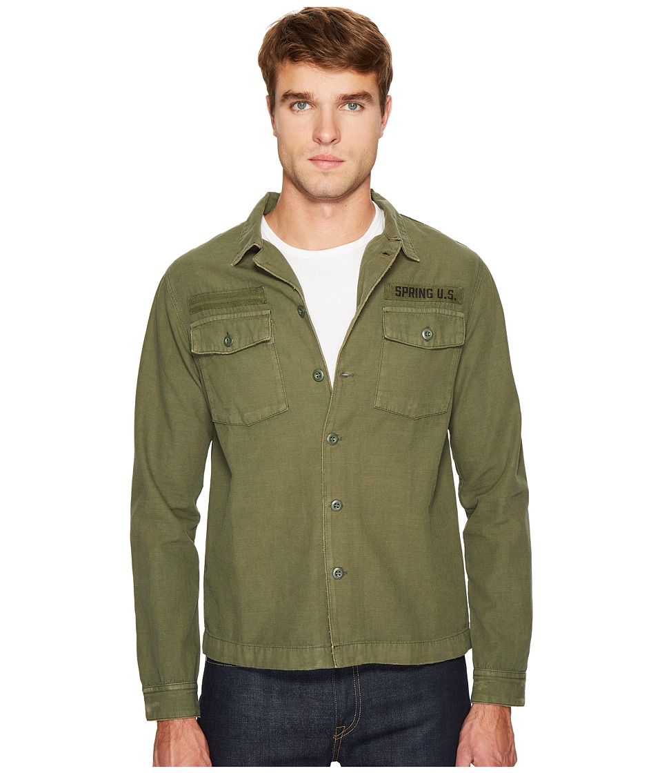 The Kooples - Dyed Shirt with Abrasion Effects and Embroidered Details (Khaki) Men's Clothing