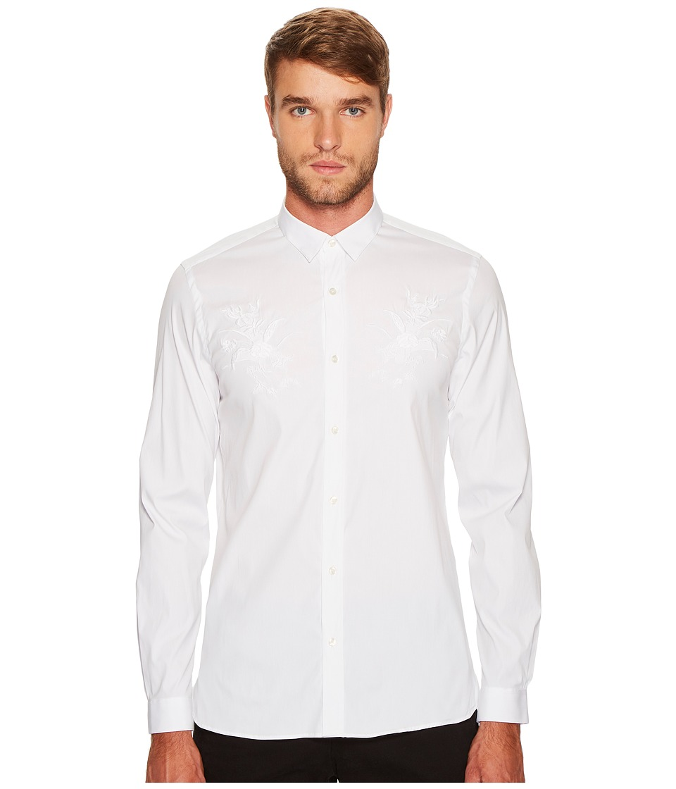 The Kooples - Shirt with A Classic Collar and Embroidery (White) Men's Clothing