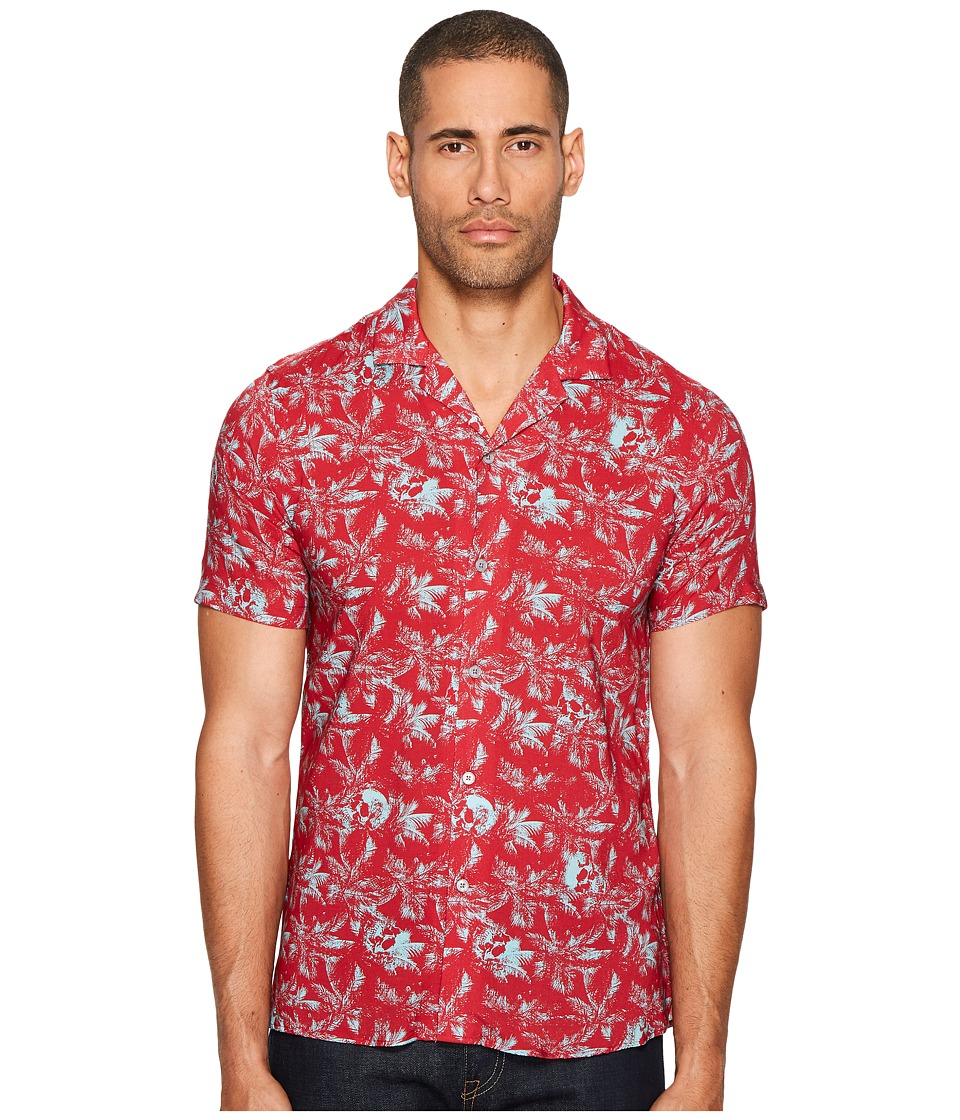 The Kooples - Short Sleeve Print Shirt with A Hawaiian Collar (Red) Men's Clothing