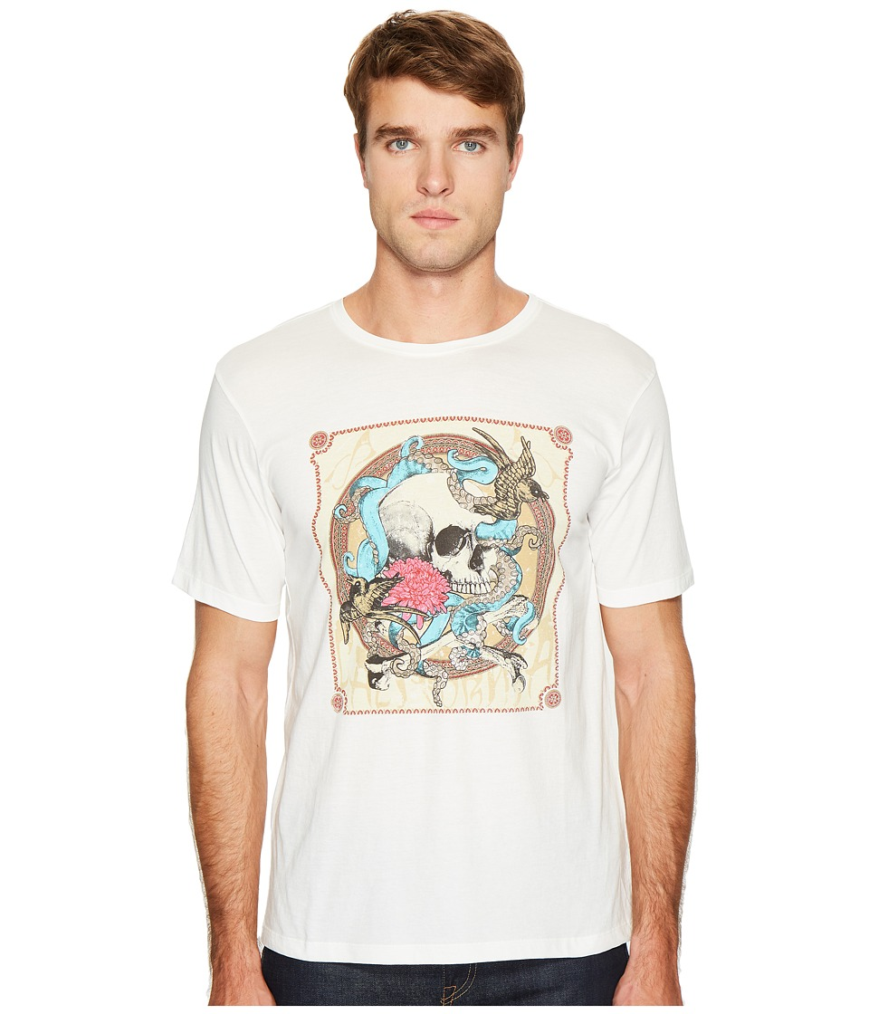 The Kooples - Round-Collar T-Shirt with Silk-Screen Finish (White) Men's T Shirt