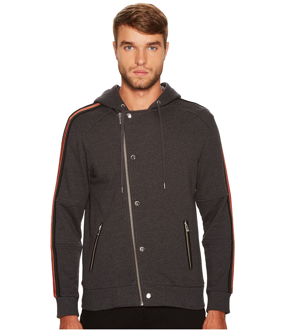 The Kooples - Zip-Up Sweater with Hood and Three-Colour Braid (Grey) Men's Sweater