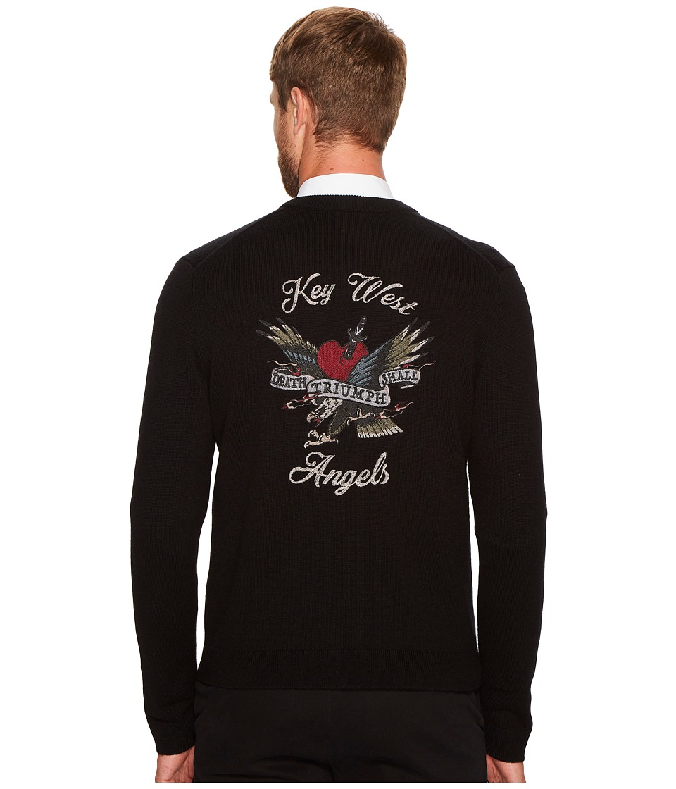 The Kooples Cardigan with Lost My Mind Embroidery (Black) Men