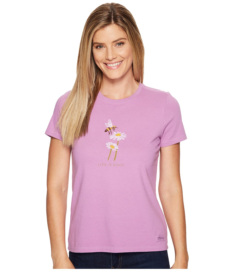 Life is Good - Bumble Bee Daisy Crusher Tee (Dusty Orchid) Women's T Shirt