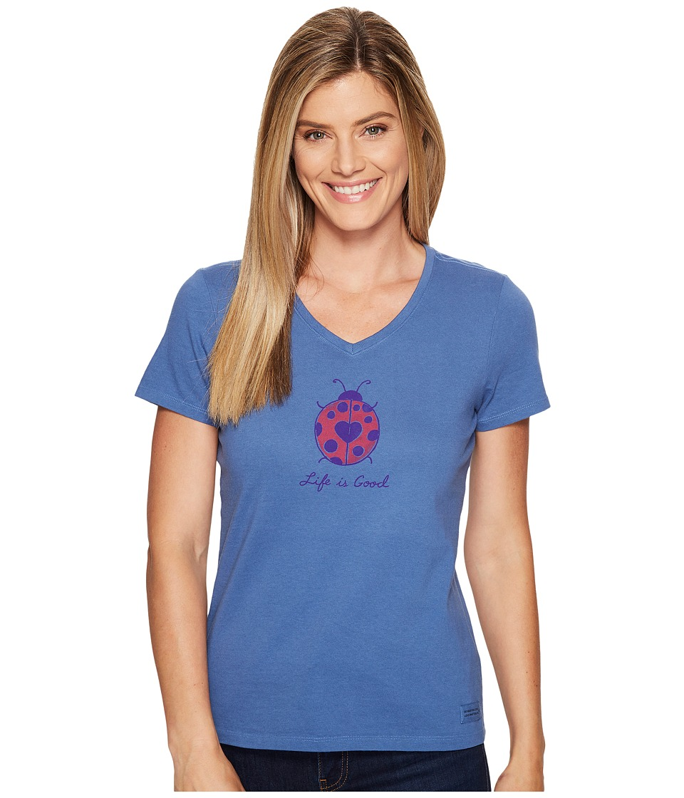 Life is Good - Ladybug Crusher Vee (Vintage Blue) Women's T Shirt