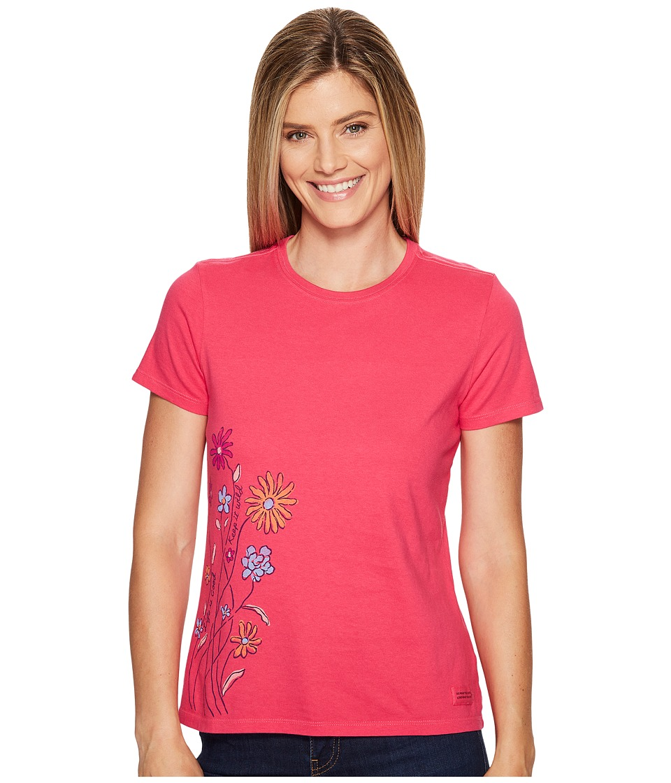 Life is Good - Keep It Wild Flowers Crusher Tee (Pop Pink) Women's T Shirt