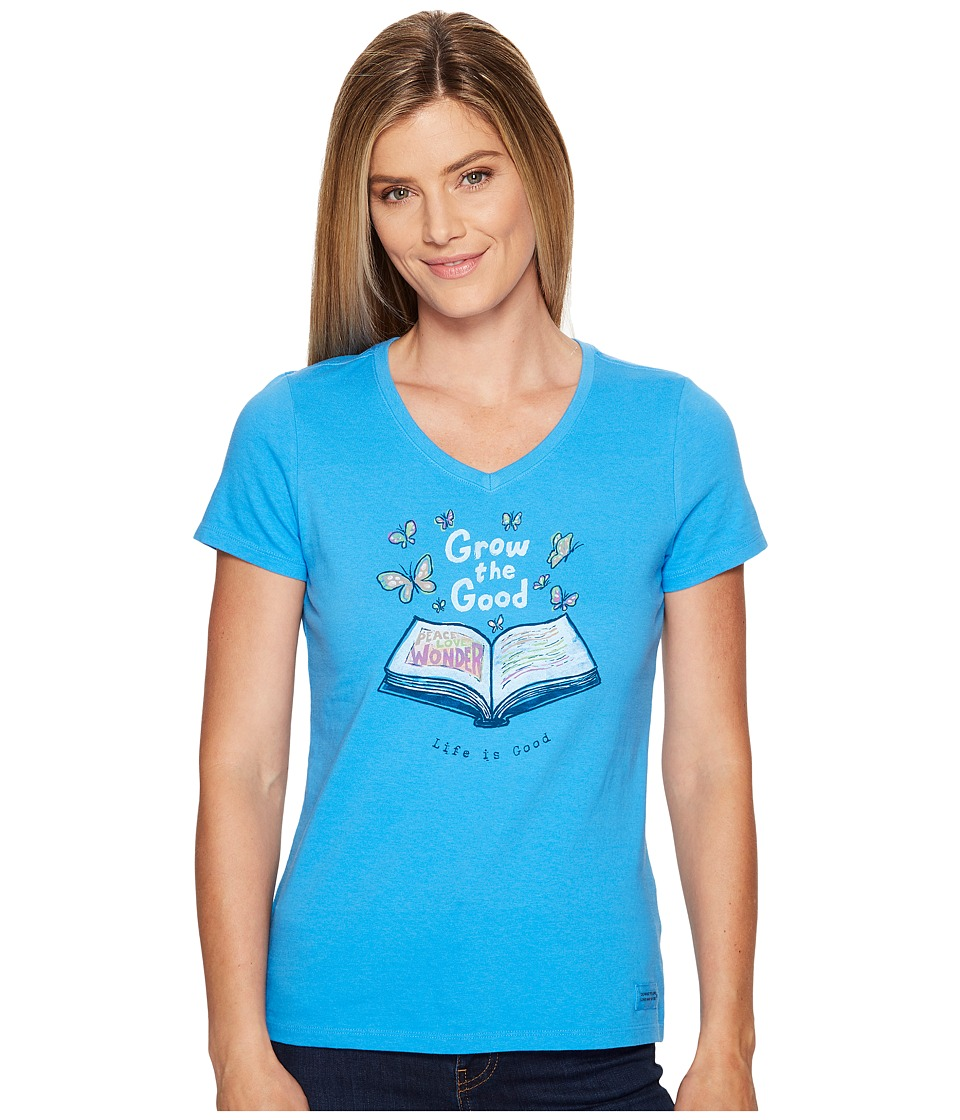 Life is Good - Grow the Good Book Crusher Vee (Tile Blue) Women's T Shirt