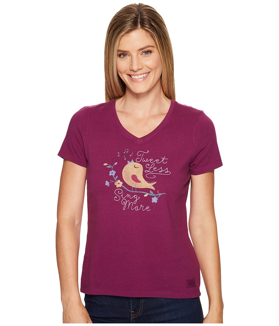 Life is Good - Sing More Tweet Less Bird Crusher Vee (Deep Plum) Women's T Shirt