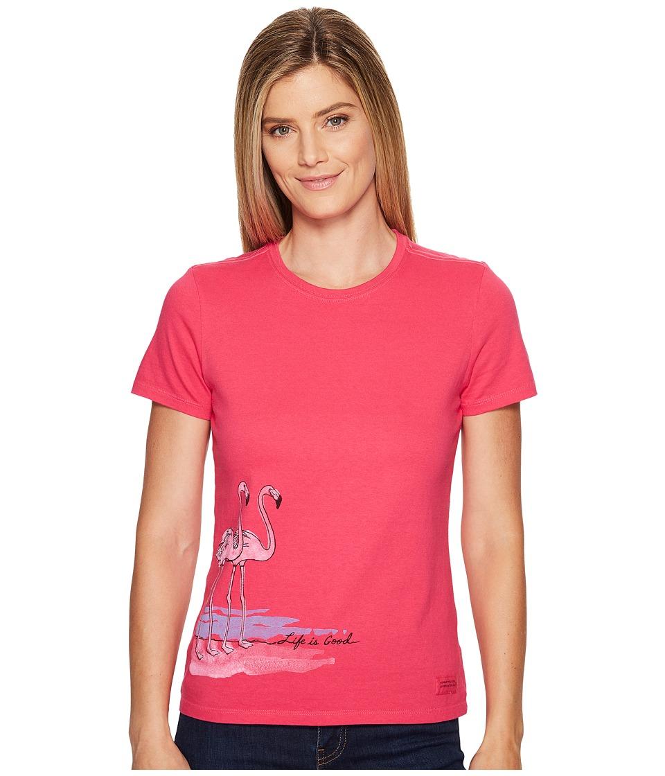 Life is Good Flamingos Crusher Tee (Pop Pink) Women