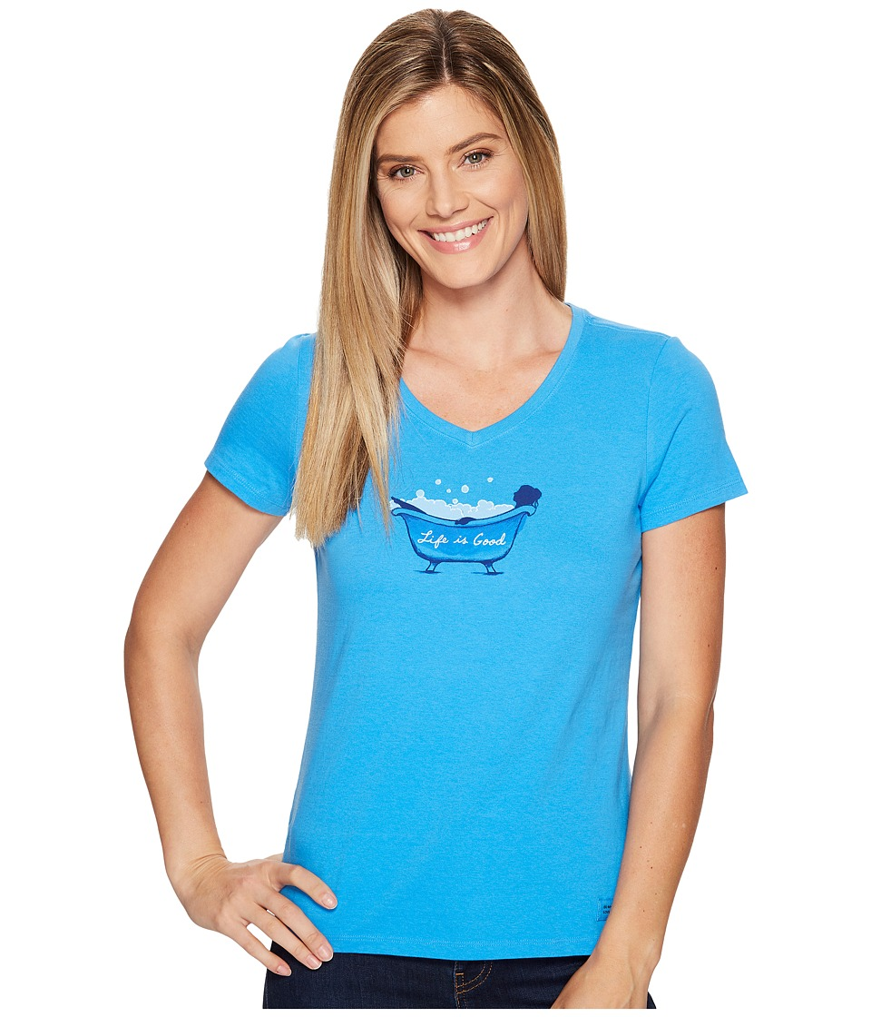 Life is Good - Bubble Bath Crusher Vee (Fresh Blue) Women's T Shirt