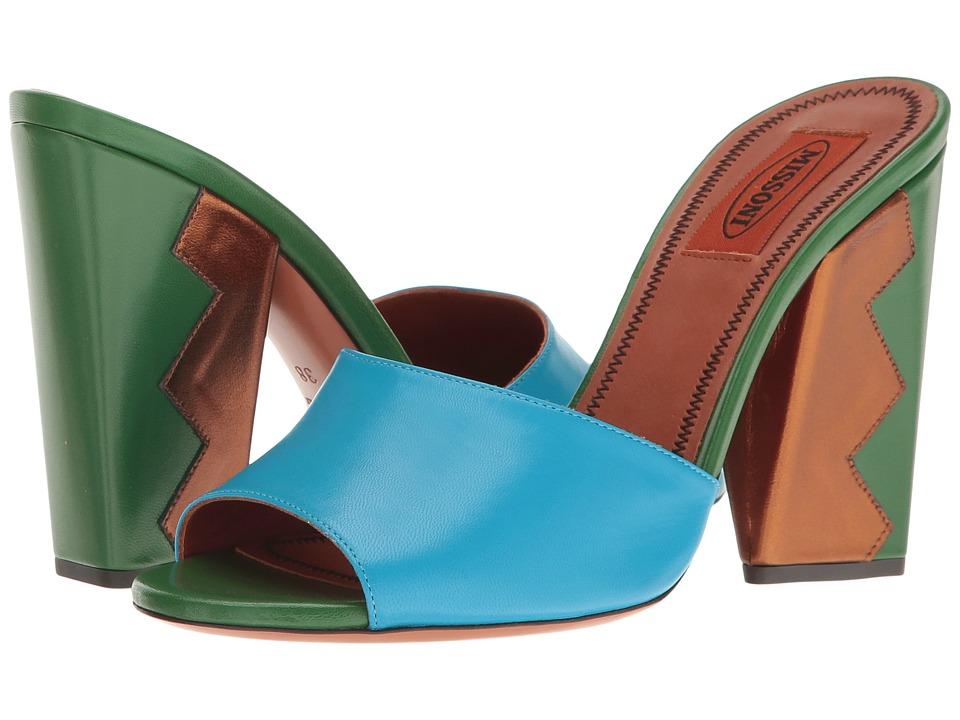 Missoni - Zigzag Heeled Slide (Turchese) Women's Shoes