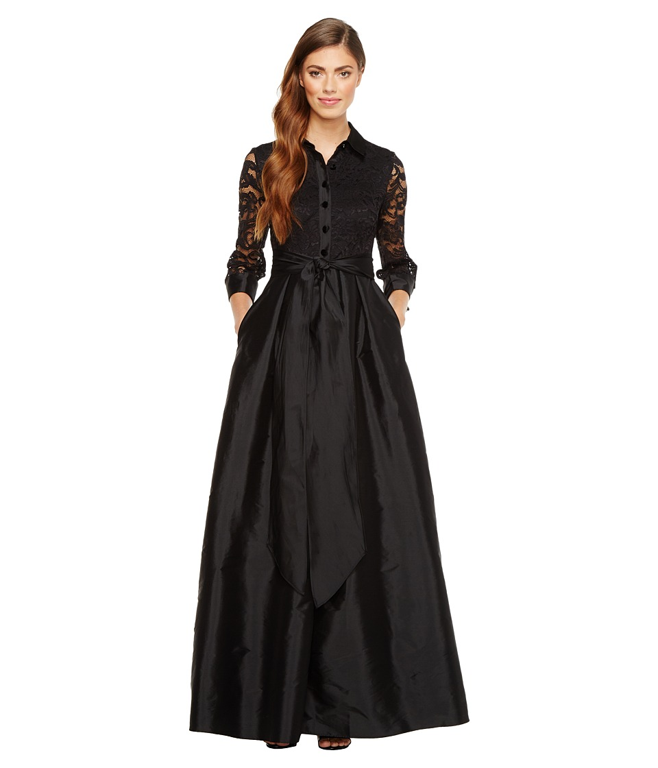 Adrianna Papell - Silky Taffeta and Lace Gown (Black) Women's Dress