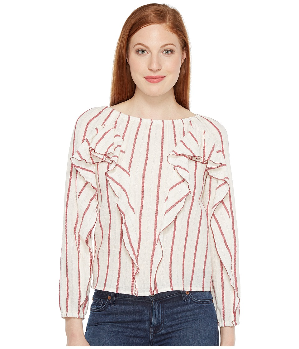 Intropia - Striped Blouse w/ Ruffles (Red Stripe) Women's Blouse