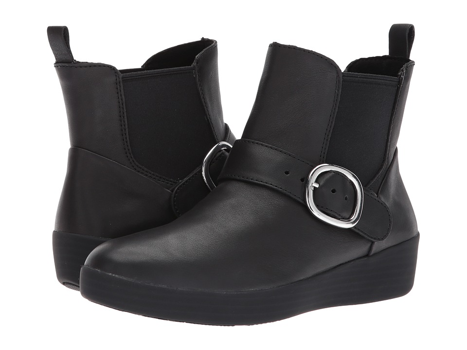 FitFlop Superbuckle Leather Chelsea Boot (Black) Women