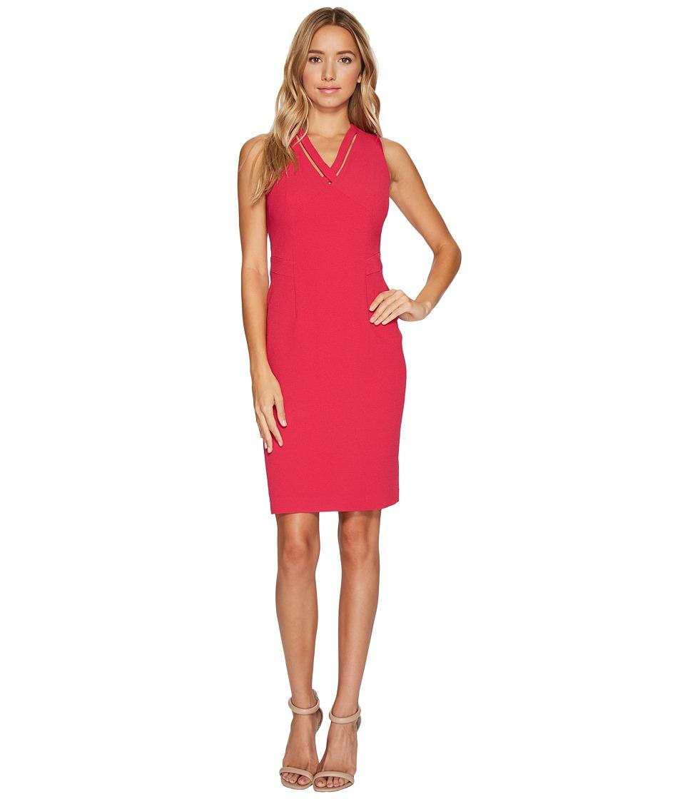 Adrianna Papell Cut Out Neckline Seamed Sheath Dress (Strawberry) Women