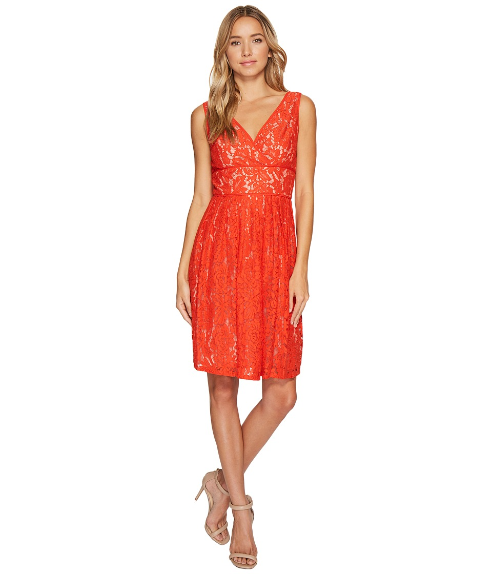 Adrianna Papell - V-Neck Fit and Flare Lace Dress (Fire Orange/Bisque) Women's Dress