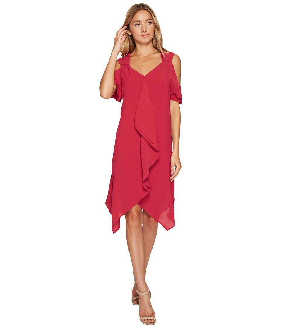 Adrianna Papell Gauzy Crepe Corkscrew Drape Dress (Strawberry) Women
