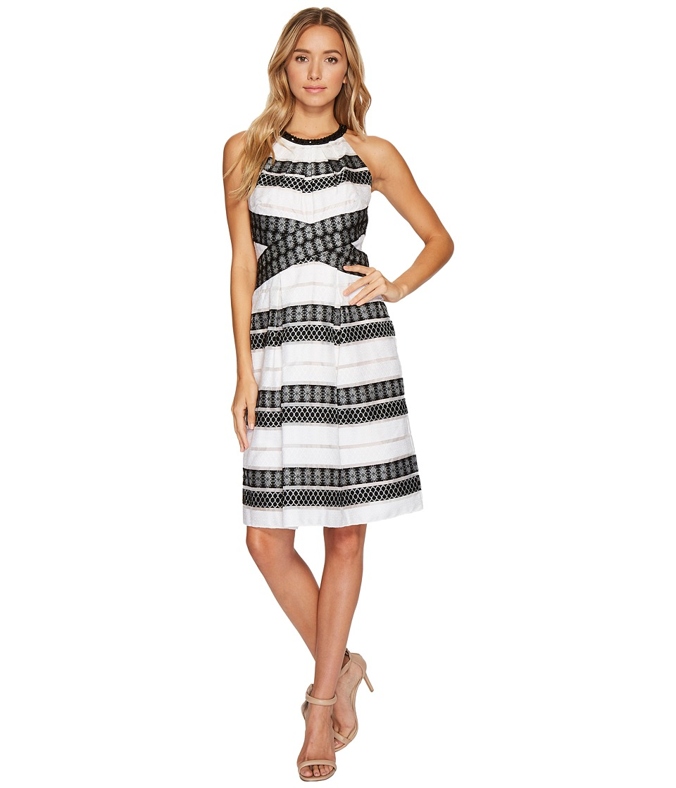 Adrianna Papell Striped Burnout A-line Halter Dress