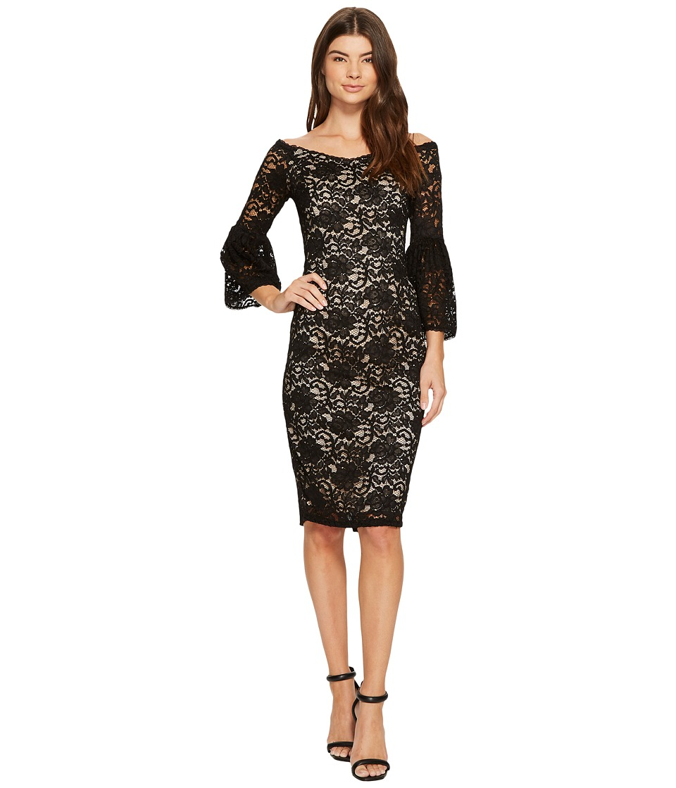Adrianna Papell Juliet Lace Off Shoulder Fit and Flare Dress (Black/Bisque) Women