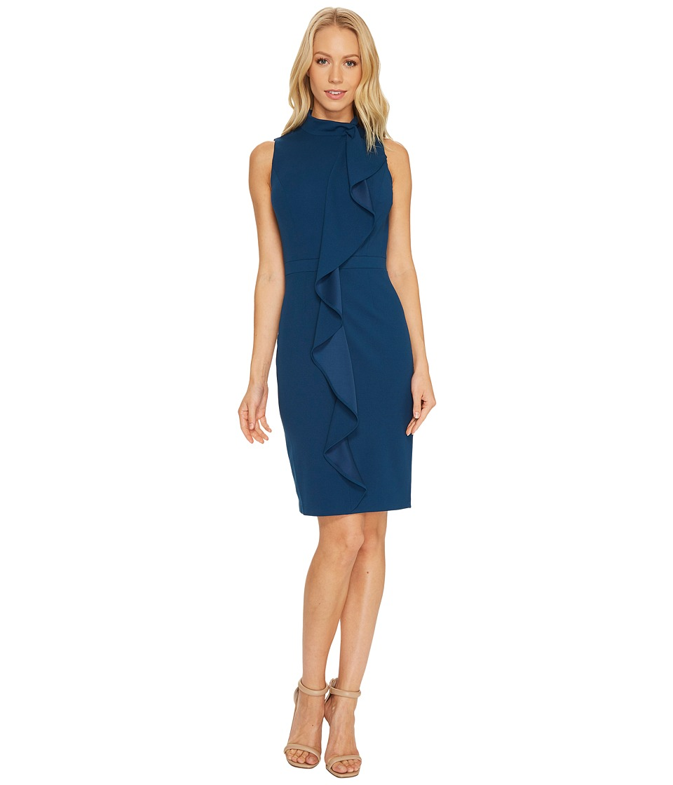 Adrianna Papell Knit Crepe Mock Neck Sheath Dress