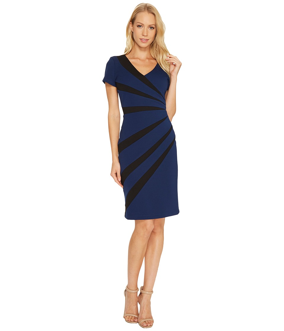 Adrianna Papell - V-Neck Fitted Dress (Navy Sateen) Women's Dress