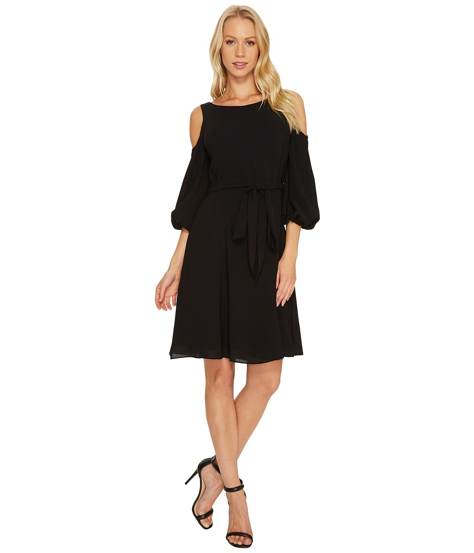Adrianna Papell - Gauzy Crepe Cold Shoulder Dress (Black) Women's Dress