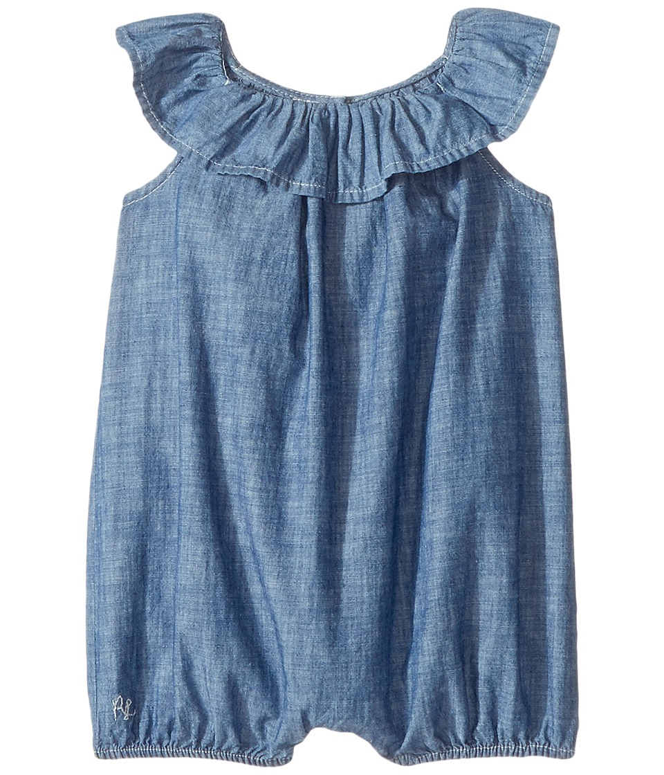 Ralph Lauren Baby - Chambray Ruffle Bubble Shortalls (Infant) (Quincy Wash) Girl's Overalls One Piece