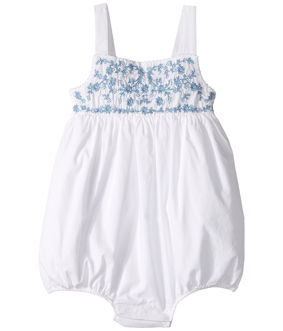 Ralph Lauren Baby - Luxury Broadcloth Embroidered Bubble Shortalls (Infant) (White) Girl's Overalls One Piece