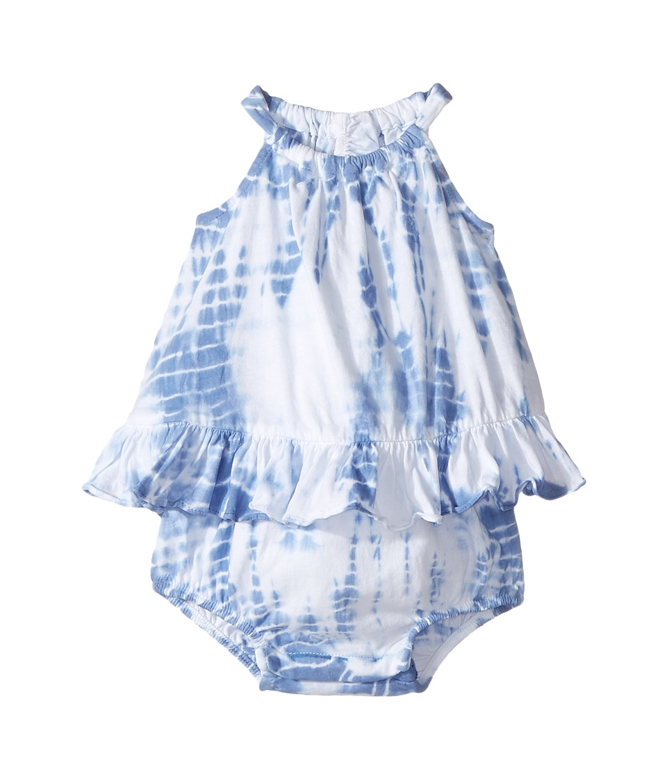 Ralph Lauren Baby - Cotton Jersey Tie-Dye Bubble Shortalls (Infant) (French Blue) Girl's Overalls One Piece