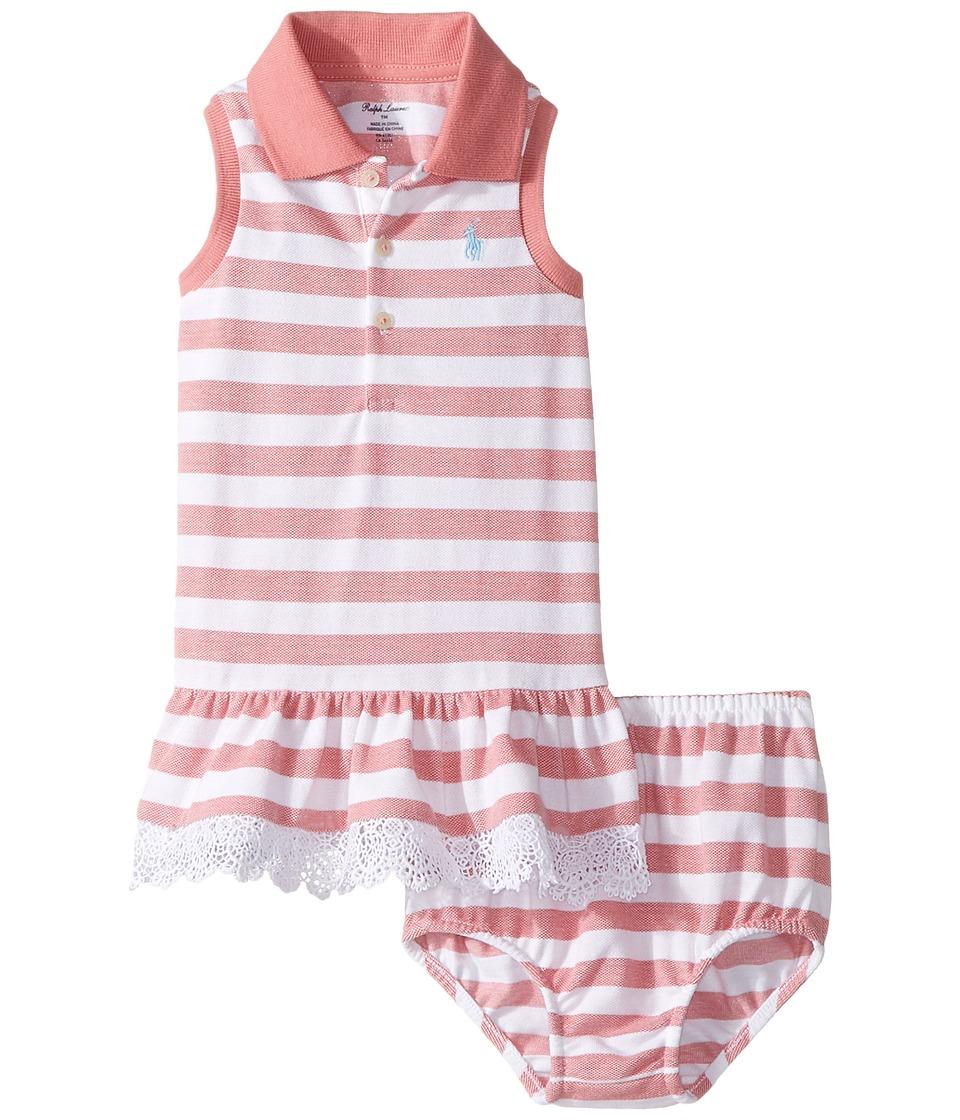 Ralph Lauren Baby - Stretch Mesh Slim Polo Dress (Infant) (Salmon Berry/White) Girl's Dress