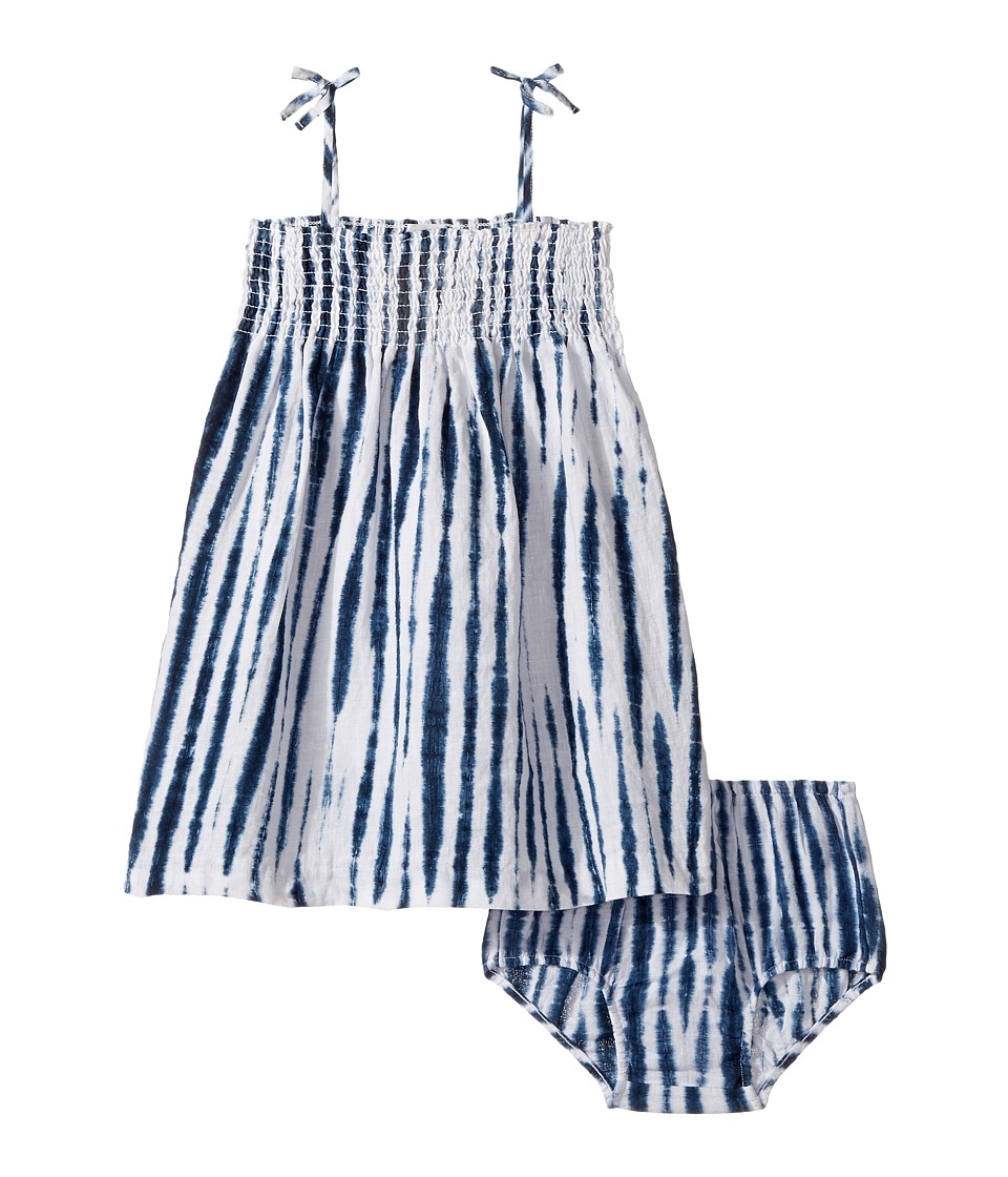 Ralph Lauren Baby - Shibori Linen Pattern Dress (Infant) (White/Blue Multi) Girl's Dress
