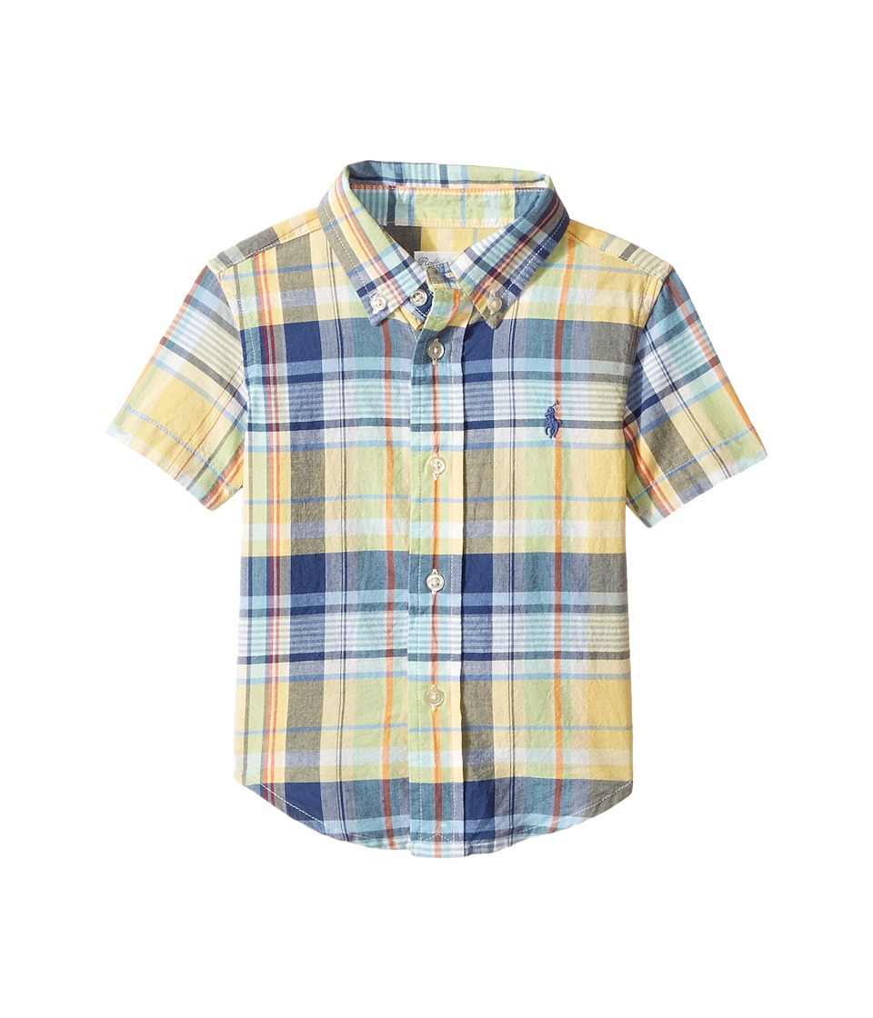 Ralph Lauren Baby - Yarn-Dyed Madras Short Sleeve Button Down Top (Infant) (Yellow/Green Multi) Boy's Short Sleeve Button Up