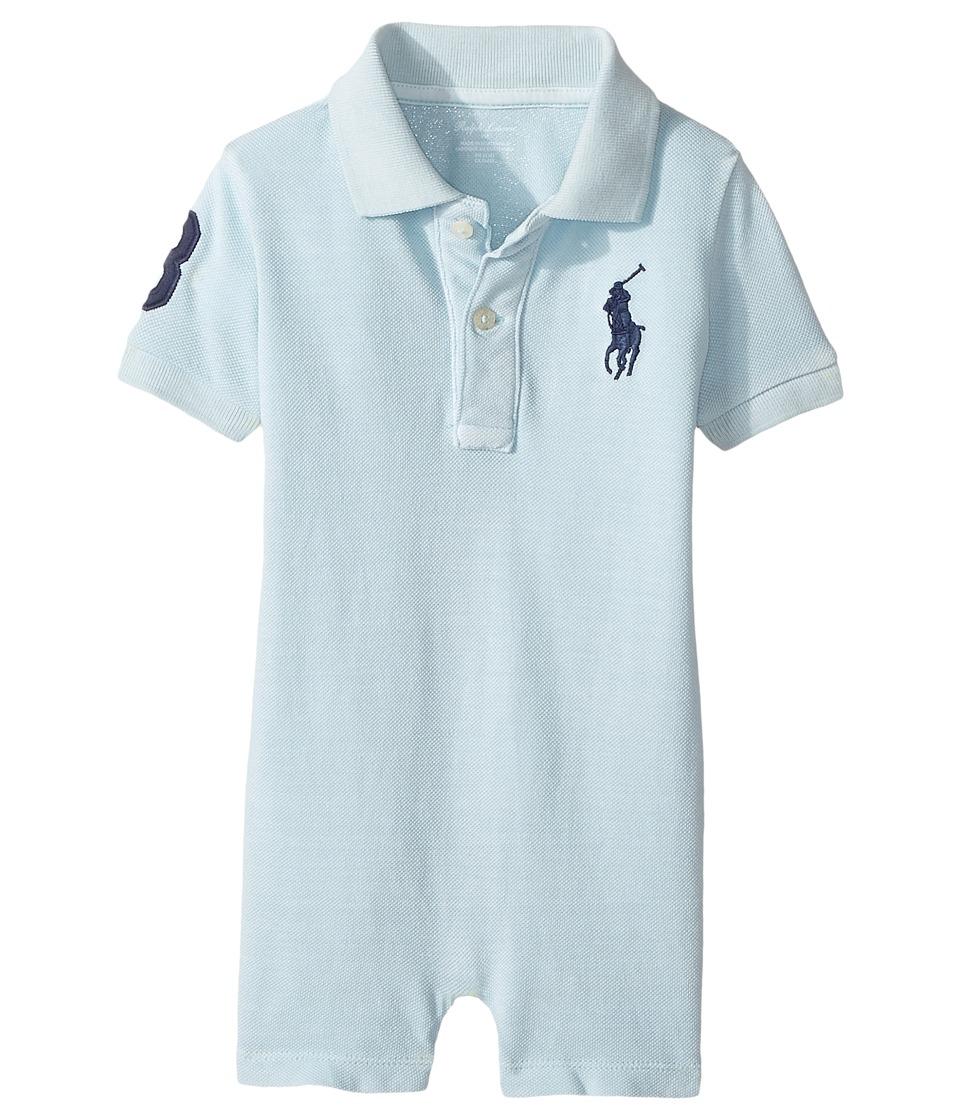 Ralph Lauren Baby - Mesh Polo Shortalls (Infant) (Coastal Blue) Boy's Overalls One Piece