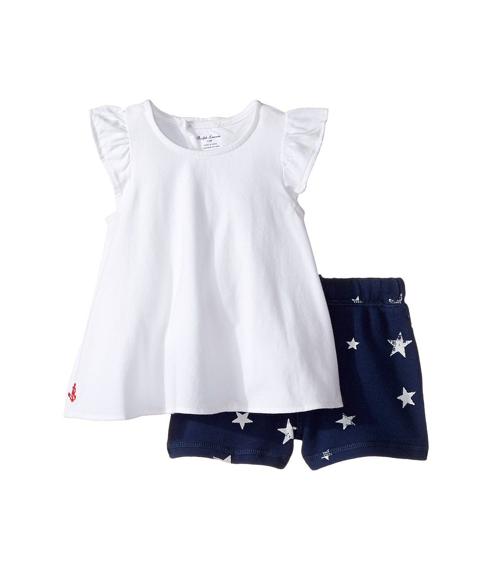 Ralph Lauren Baby - Jersey Knit Shorts Set (Infant) (White) Girl's Active Sets