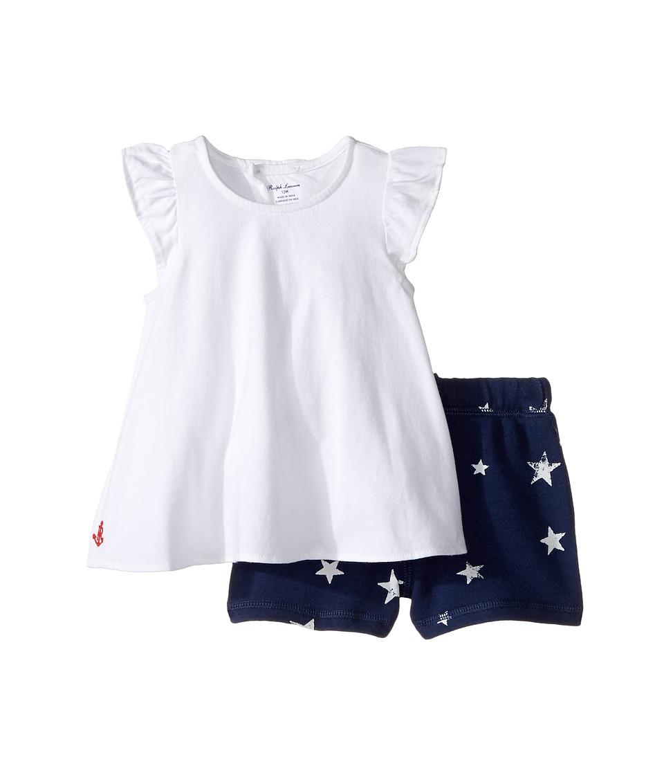 Ralph Lauren Baby - Jersey Knit Shorts Set (Infant) (White) Girl's Active Sets