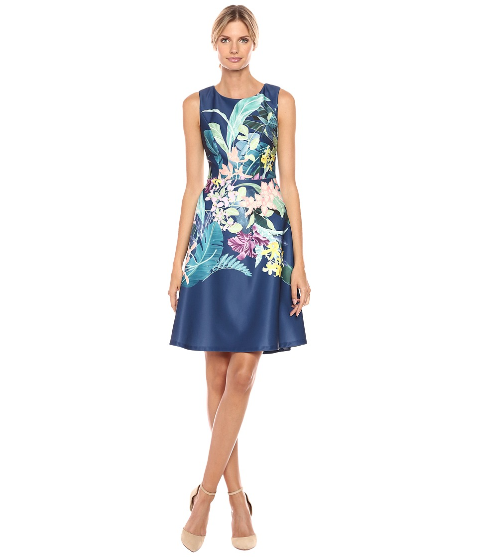 Adrianna Papell - Tropical Essence Printed Scuba Jewel Neck Fit and Flare Dress (Navy Multi) Women's Dress