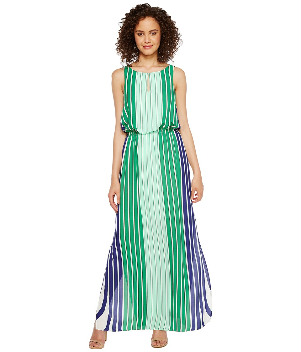 Adrianna Papell Beta Stripe Printed Georgrette Blouson Keyhole Maxi Dress (Green Multi) Women