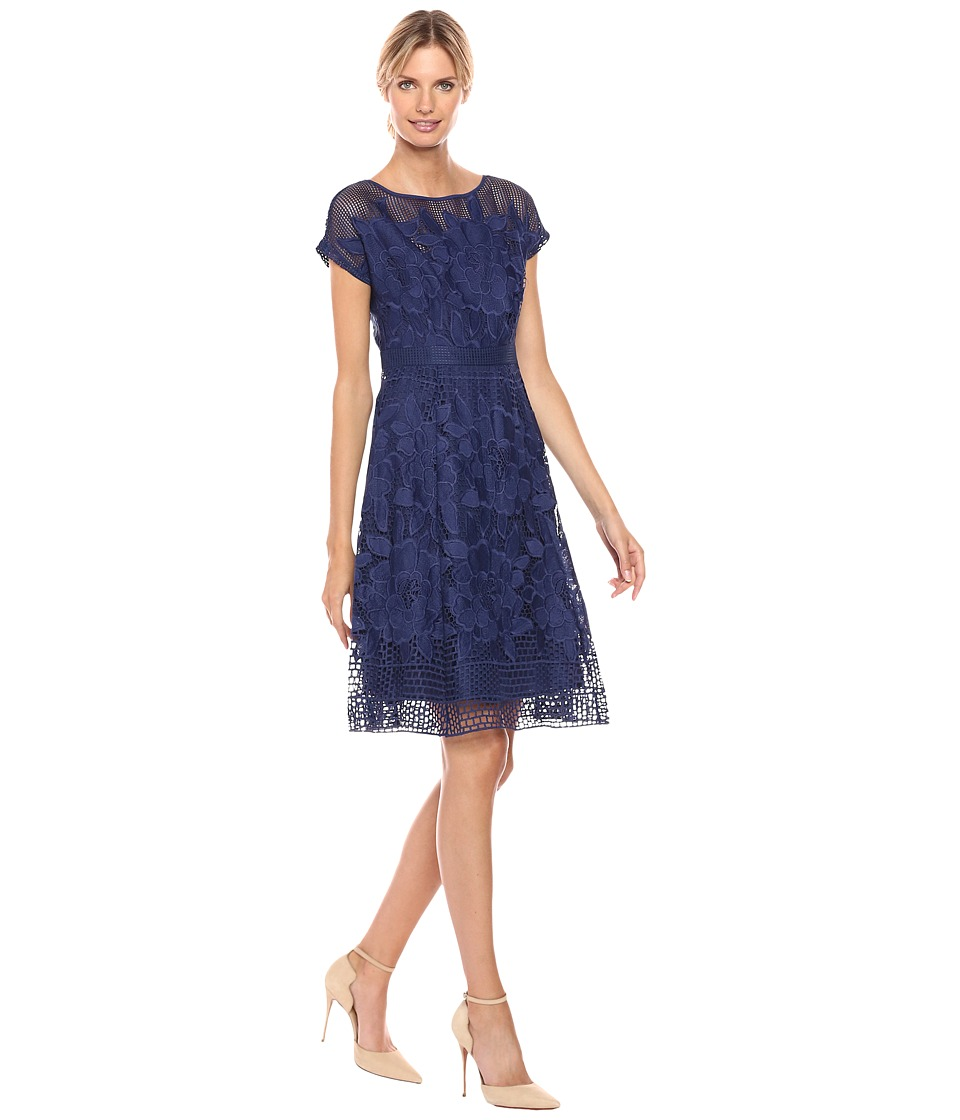 Adrianna Papell Havana Gardens Lace Illusion Short Sleeve A-Line Dress (Blue Sapphire) Women