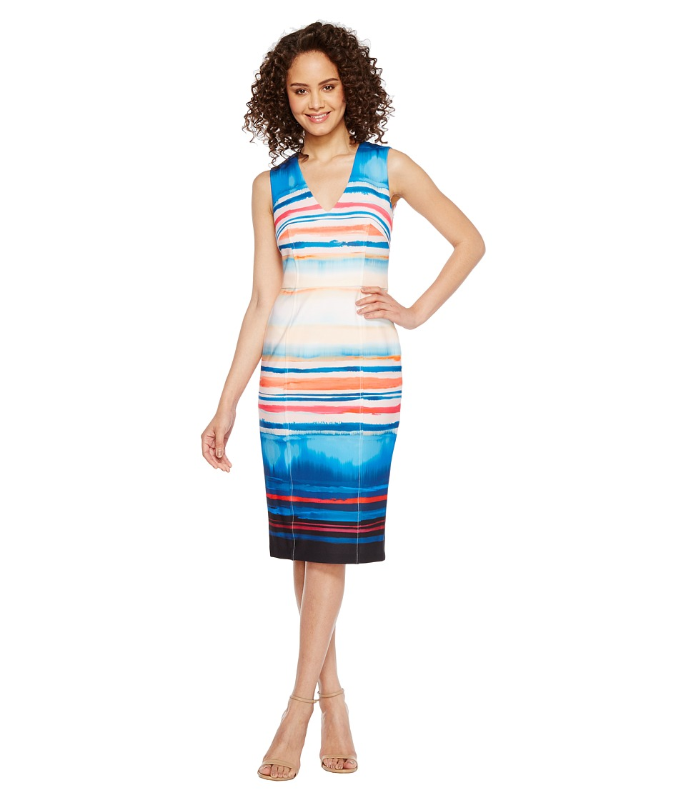 Adrianna Papell - Washed Watercolor Stripe V-Neck Sheath Dress (Black Multi) Women's Dress