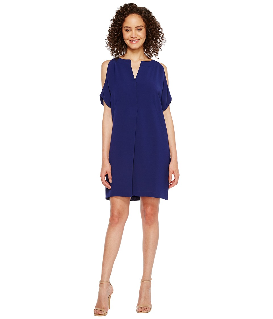 Adrianna Papell - Novelty Gauzy Crepe Cold Shoulder T-Shirt Shift Dress (Blue Sapphire) Women's Dress