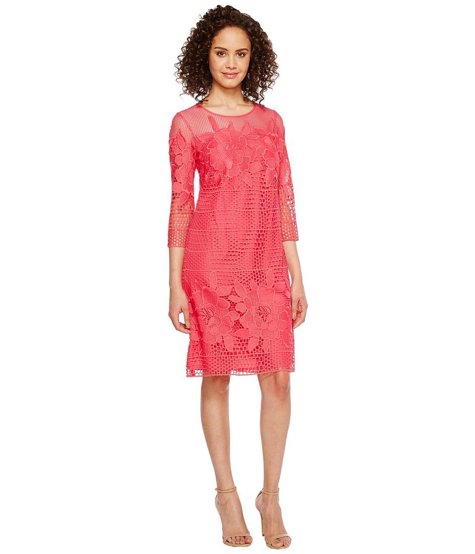 Adrianna Papell Havana Gardens Lace Long Sleeve Shift Dress (Guava) Women
