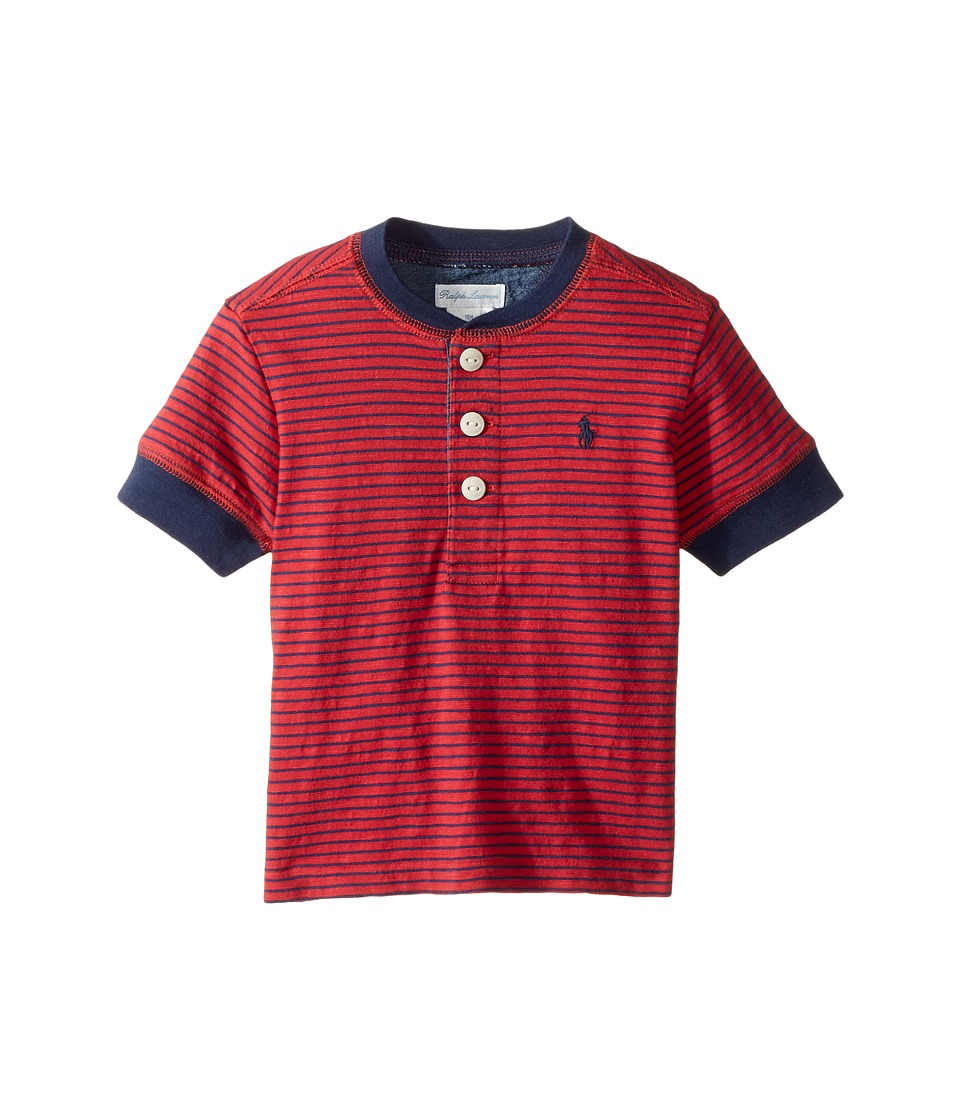 Ralph Lauren Baby - Yarn-Dyed Slub Jersey Short Sleeve Henley Top (Infant) (Sunrise Red Multi) Boy's T Shirt