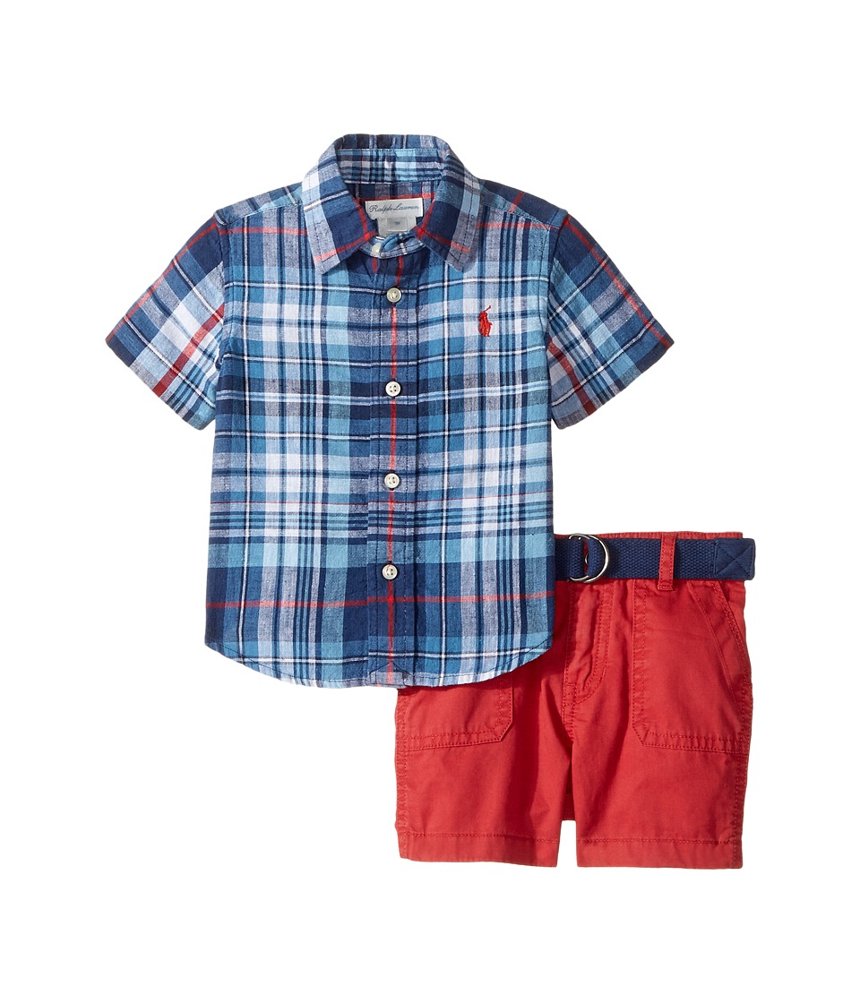 Ralph Lauren Baby - Yarn-Dyed Cotton Plaid Shorts Set (Infant) (Blue/Red Multi) Boy's Active Sets