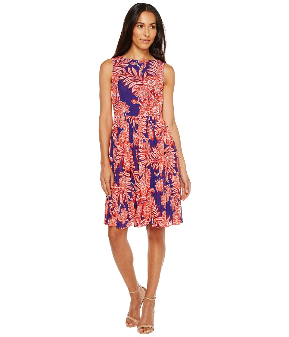 Adrianna Papell - Paisley Bandana Printed Chiffon Pleated Fit and Flare Dress (Navy Multi) Women's Dress