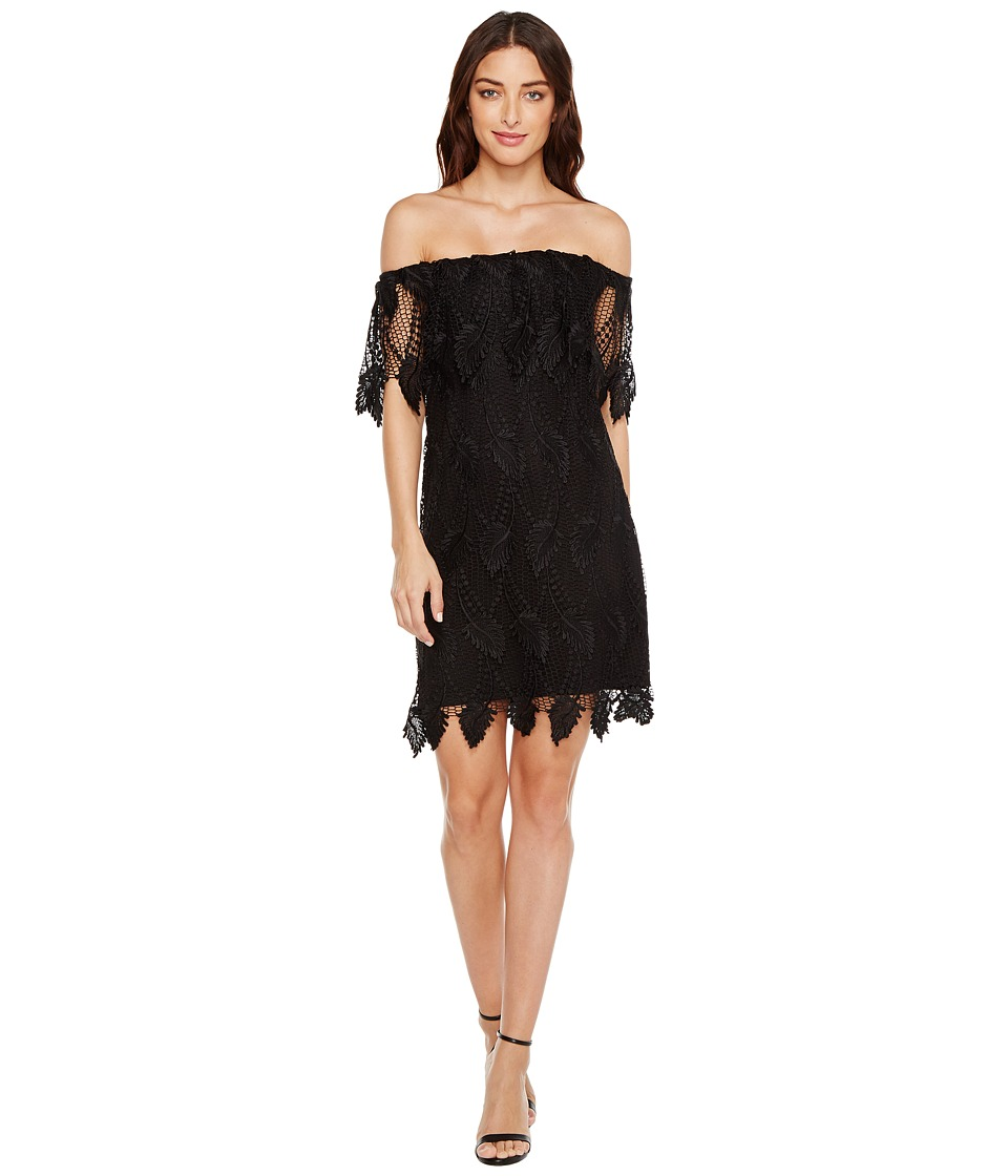 Adrianna Papell - Victoriana Palm Lace Off the Shoulder Shift Dress (Black Multi) Women's Dress