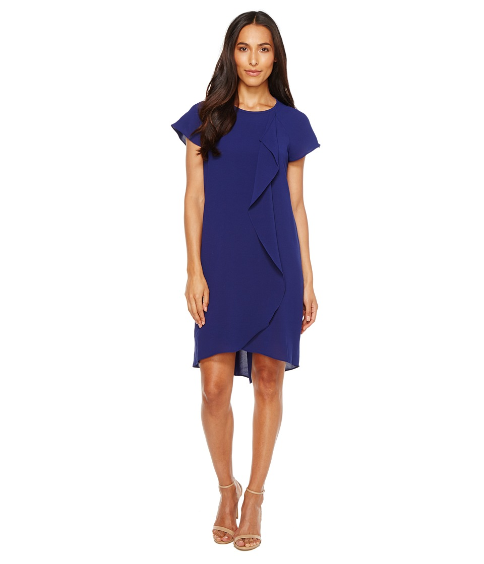 Adrianna Papell - Gauzy Crepe Corkscrew Drape Shift Dress with Short Sleeves (Blue Sapphire) Women's Dress