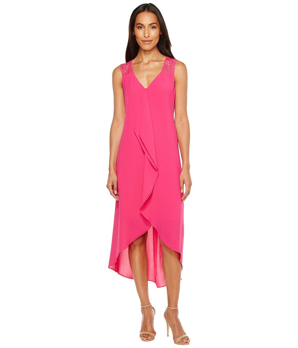 Adrianna Papell Novelty Gauzy Crepe Corkscrew Shift Dress with Lace Detailing (Bright Azaela) Women