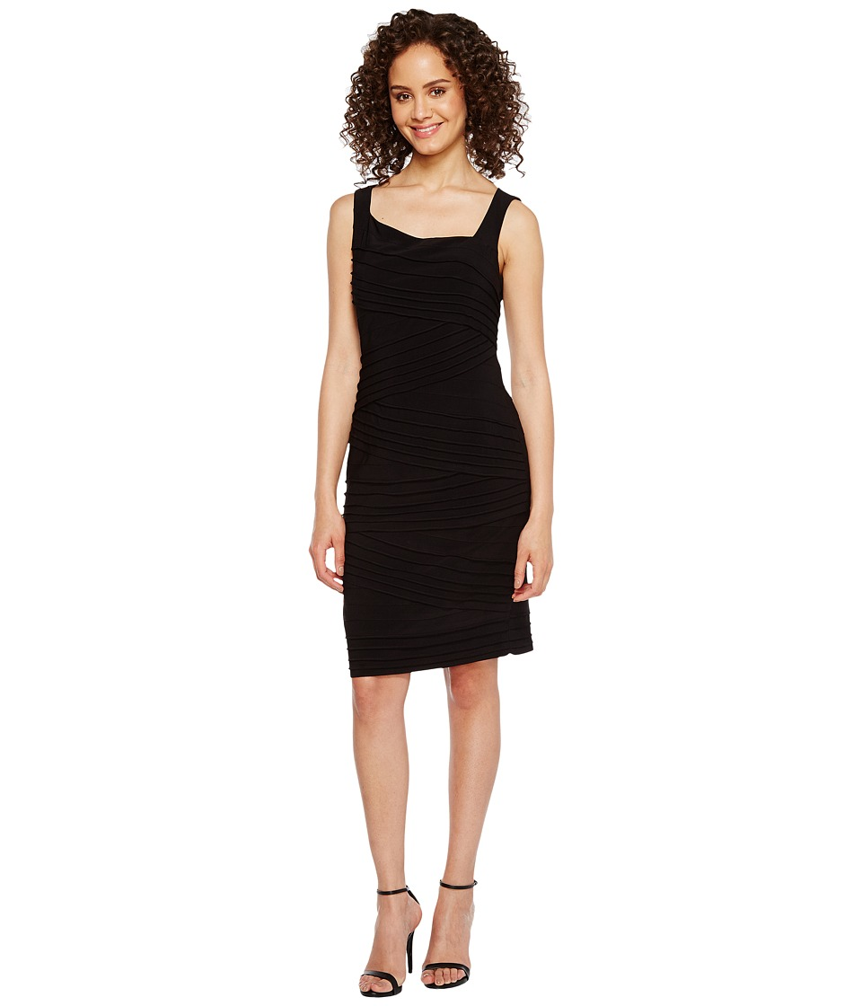 Adrianna Papell Variegated Striped Banded Jersey Sheath Dress