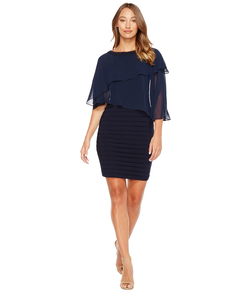 Adrianna Papell - Chiffon Cape Matte Jersey Sheath Dress (Blue Moon) Women's Dress