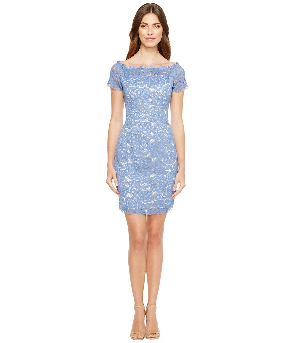 Adrianna Papell - Off the Shoulder Lace Sheath Dress with Contrast Lining (Chilly Blue/Almond) Women's Dress