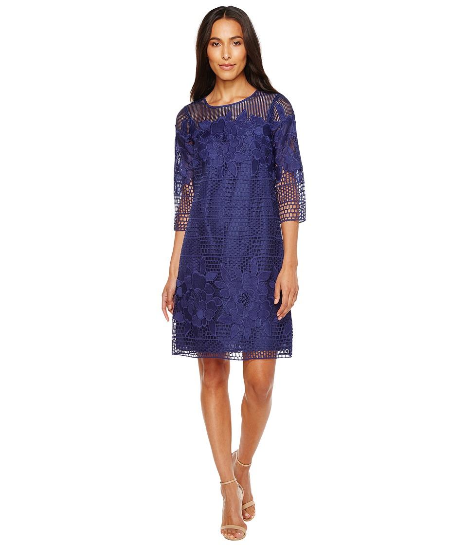Adrianna Papell Havana Gardens Lace Long Sleeve Shift Dress (Blue Sapphire) Women
